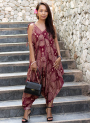 Boho Jumpsuit Dress Red