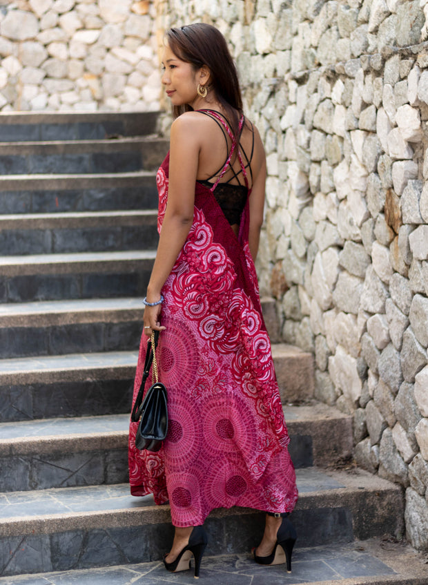 Boho Maxi Dress Mandala Red