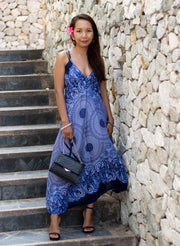 Boho Maxi Dress Mandala Blue