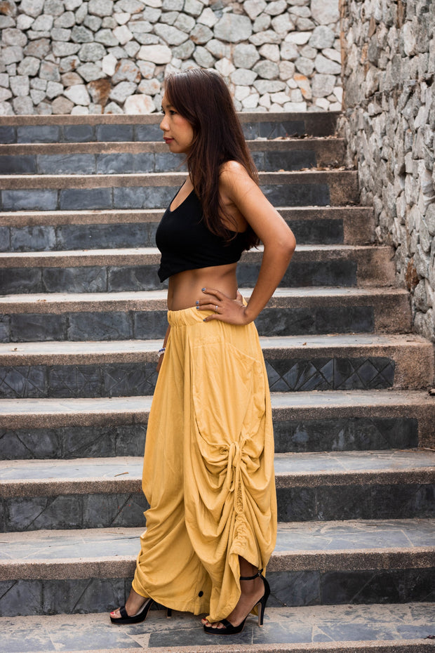 Convertible Maxi Skirt Palazzo Pants Yellow
