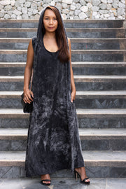 Hooded Maxi Dress Batik Black