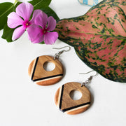Teak Wood Earrings Round