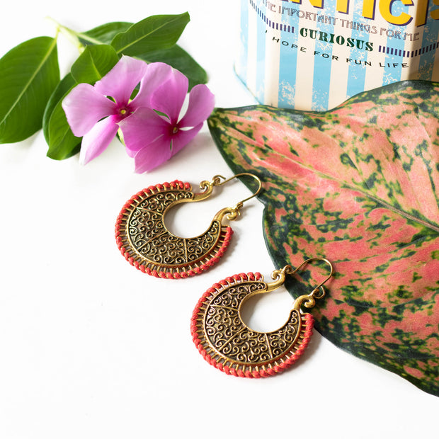 Mandala Brass Earrings Round