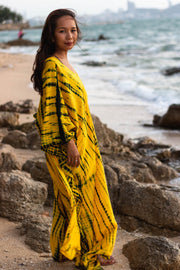 Maxi Kaftan Dress Tie Dye Yellow (Fits Plus Size)