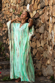 Maxi Kaftan Dress Tie Dye Turquoise (Fits Plus Size)