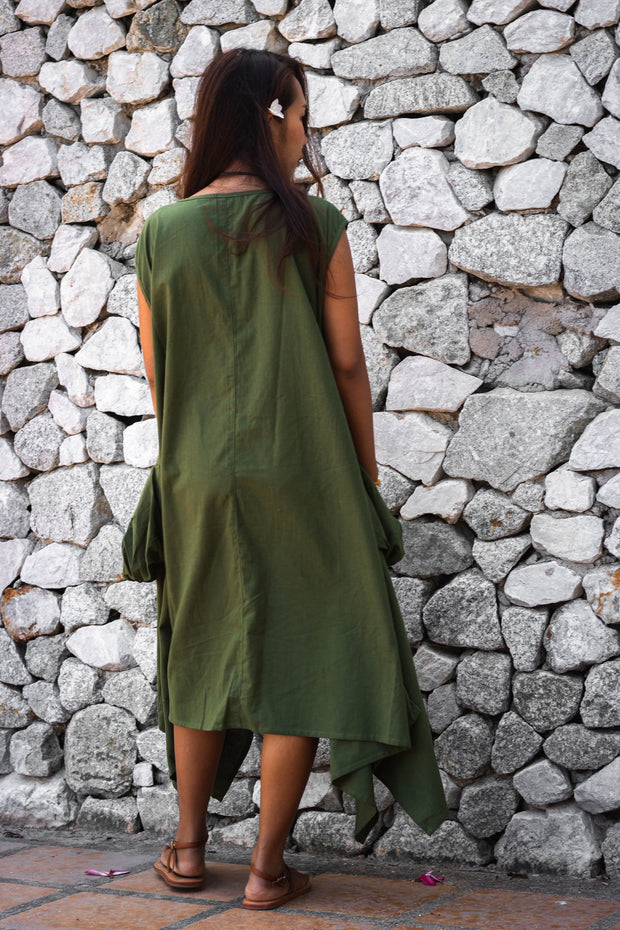 Loose Bohemian Maxi Dress Green