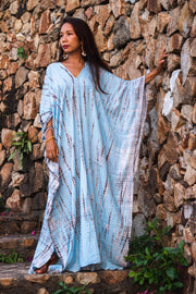 Maxi Kaftan Dress Tie Dye Light Blue (Fits Plus Size)
