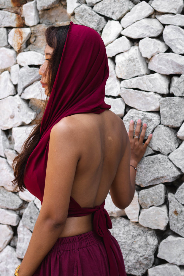Backless Hood Top Murrala Red