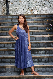 Cotton Boho Dress Naraya Tie Dye Blue