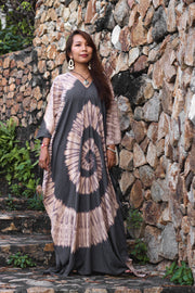 Maxi Kaftan Dress Tie Dye Grey (Fits Plus Size)