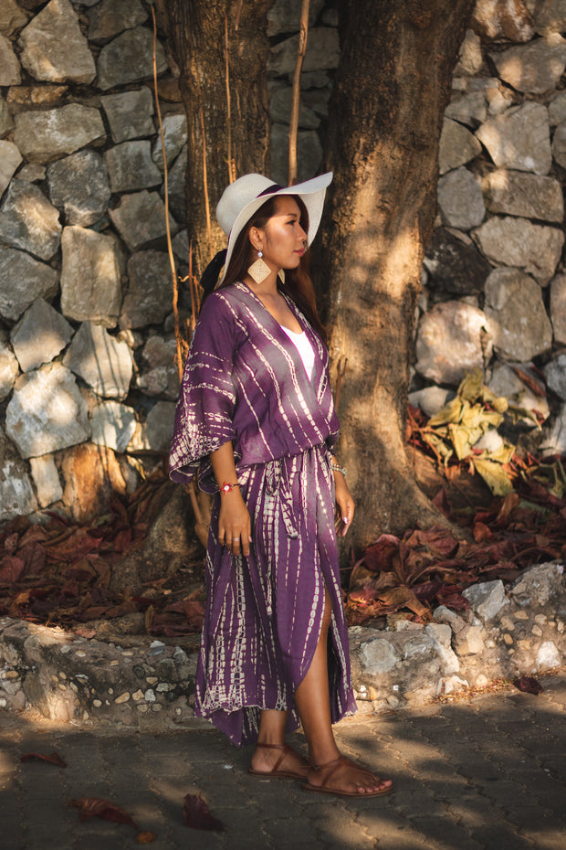 Long Kimono Robe Tie Dye Purple (Fits Plus Size)