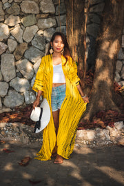 Long Kimono Robe Tie Dye Yellow (Fits Plus Size)