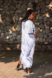 Long Kimono Robe Tie Dye White (Fits Plus Size)