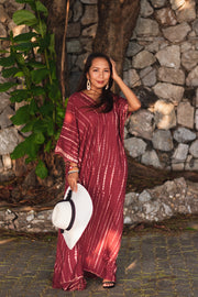 Maxi Kaftan Dress Tie Dye Burgundy (Fits Plus Size)