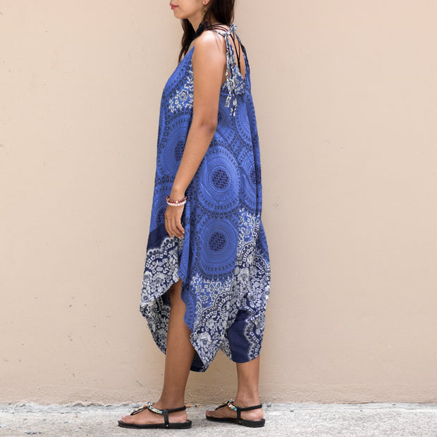Bohemian Mandala Jumpsuit Dress Dark Blue