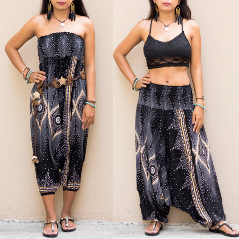 Harem Jumpsuit Pants Mandala Black