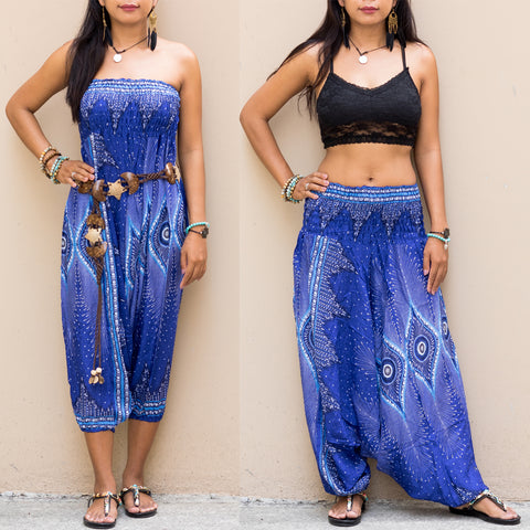 Harem Jumpsuit Pants Mandala Blue