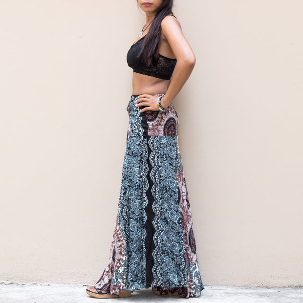 Maxi Skirt Women Mandala Light Blue
