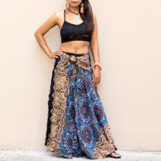 Mandala Maxi Skirt Women Blue