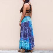 Maxi Skirt Women Mandala Blue