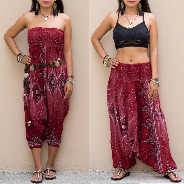 Boho Harem Jumpsuit Pants Peacock Bordeaux
