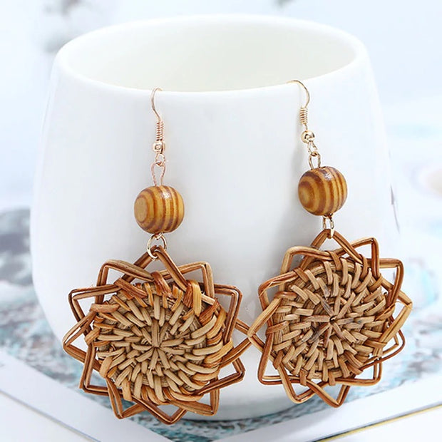 Woven Rattan Earrings