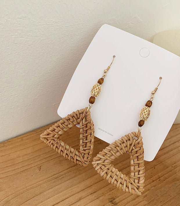 Triangle Rattan Earrings