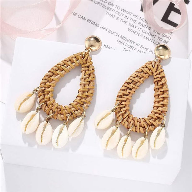 Bohemian Rattan Shell Earrings