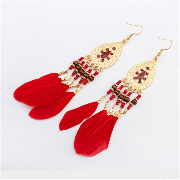Boho Feather Earrings, Bohemian Style in 4 Colors