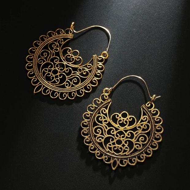 Mandala Brass Earrings Gold