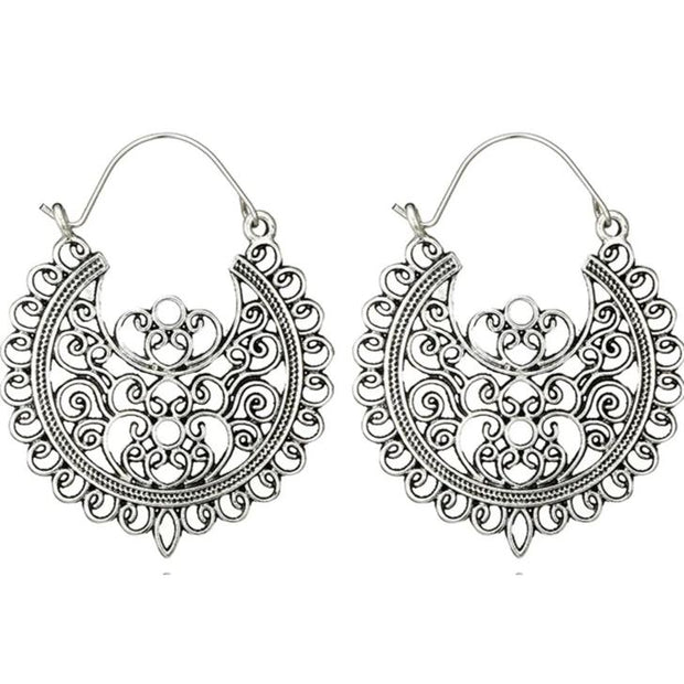 Mandala Brass Earrings Silver