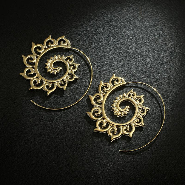 Brass Spiral Earrings Gold