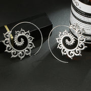 Brass Spiral Earrings Silver
