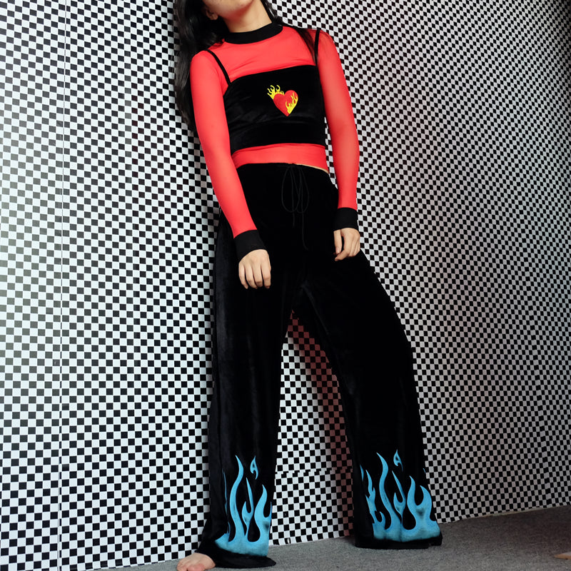 Flaming Heart Velvet Crop