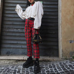 'RUMI' Plaid Red Pants