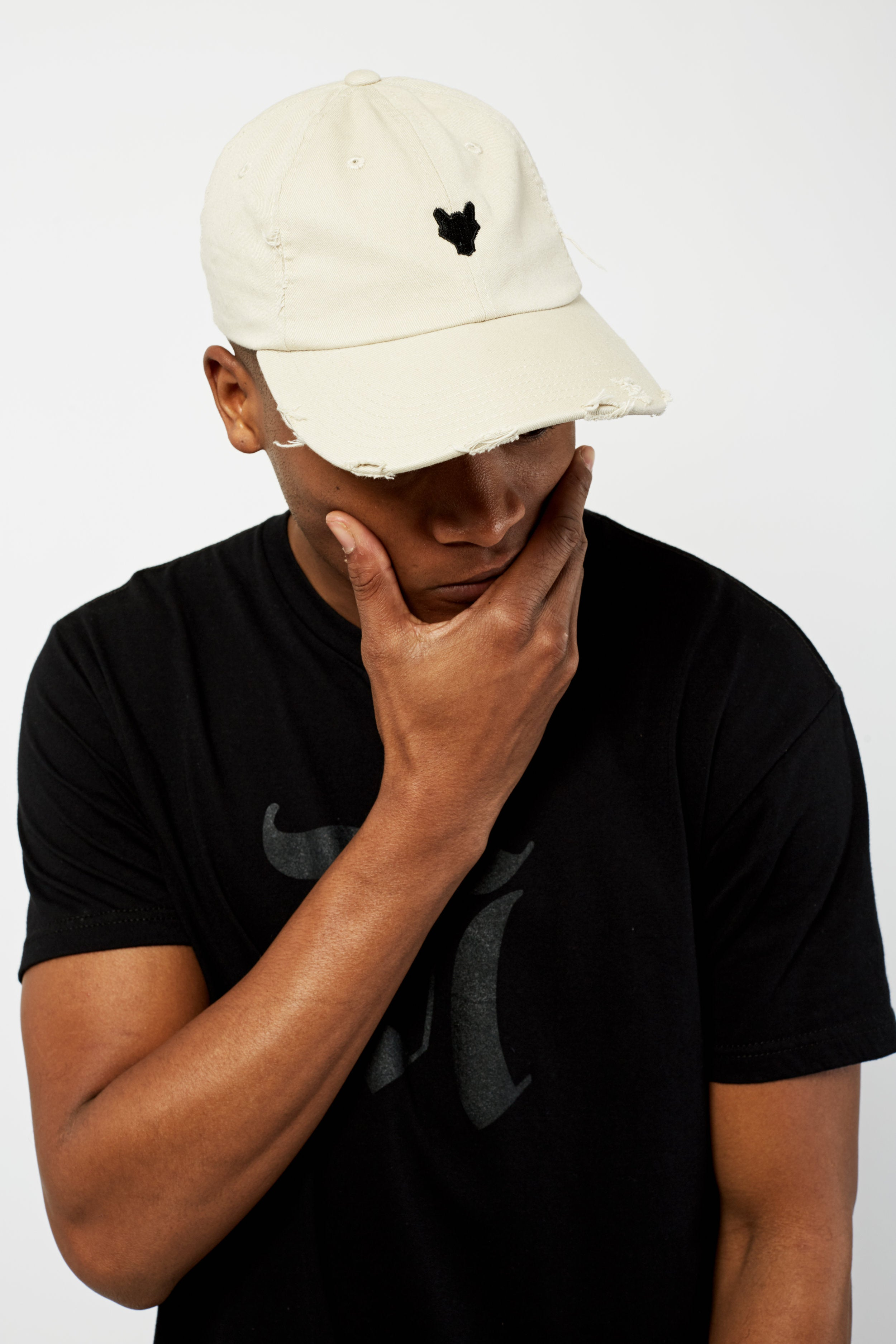 DISTRESSED WOLF LOGO HAT - STONE & BLACK
