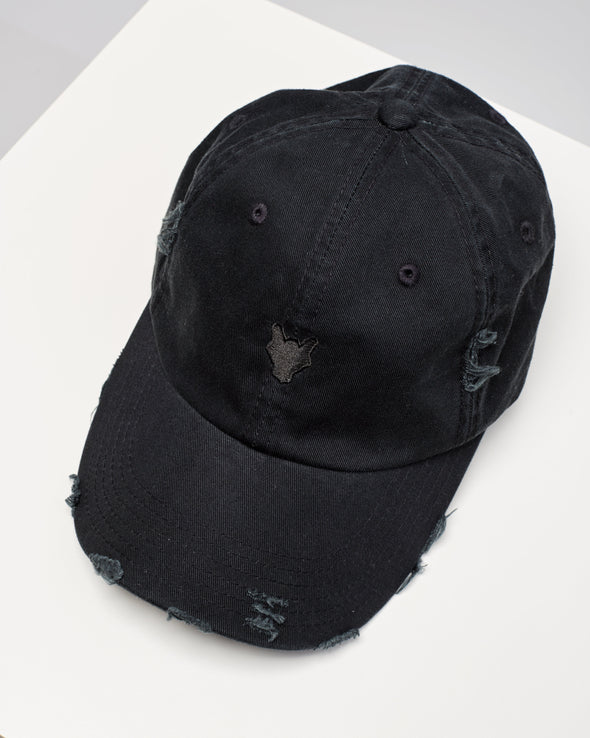 DISTRESSED WOLF LOGO HAT - BLACK ON BLACK