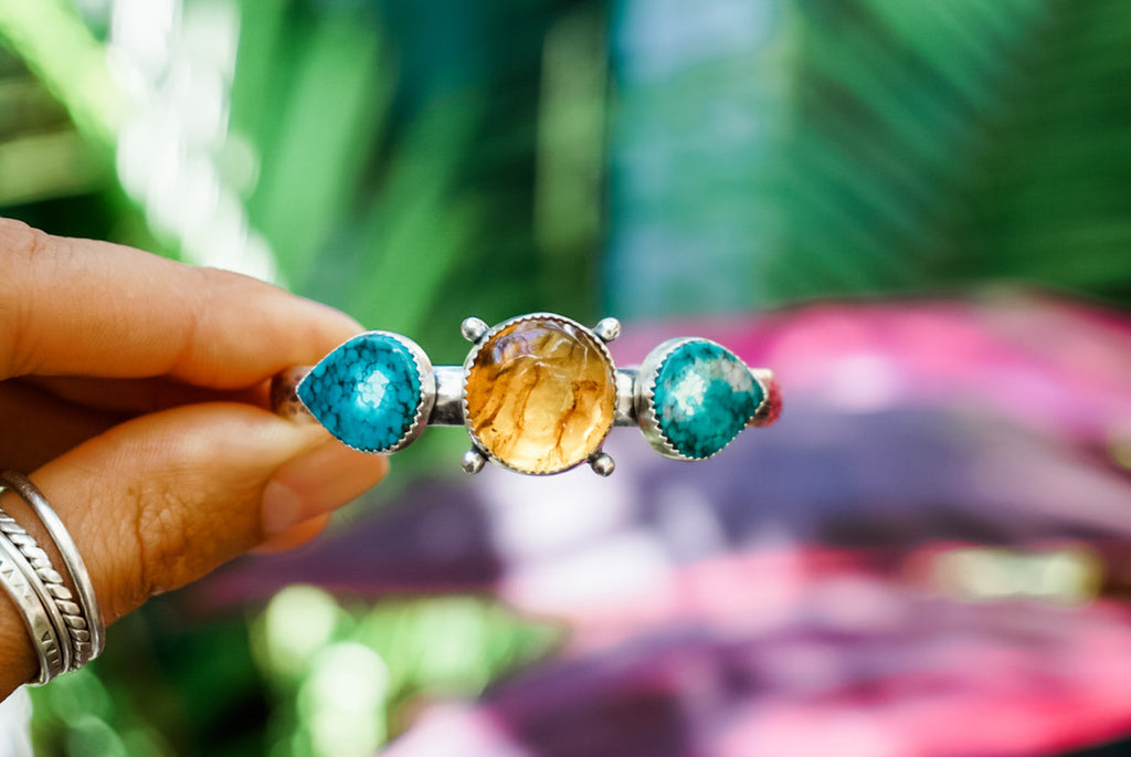 Amber + Turquoise Cuff Bracelet