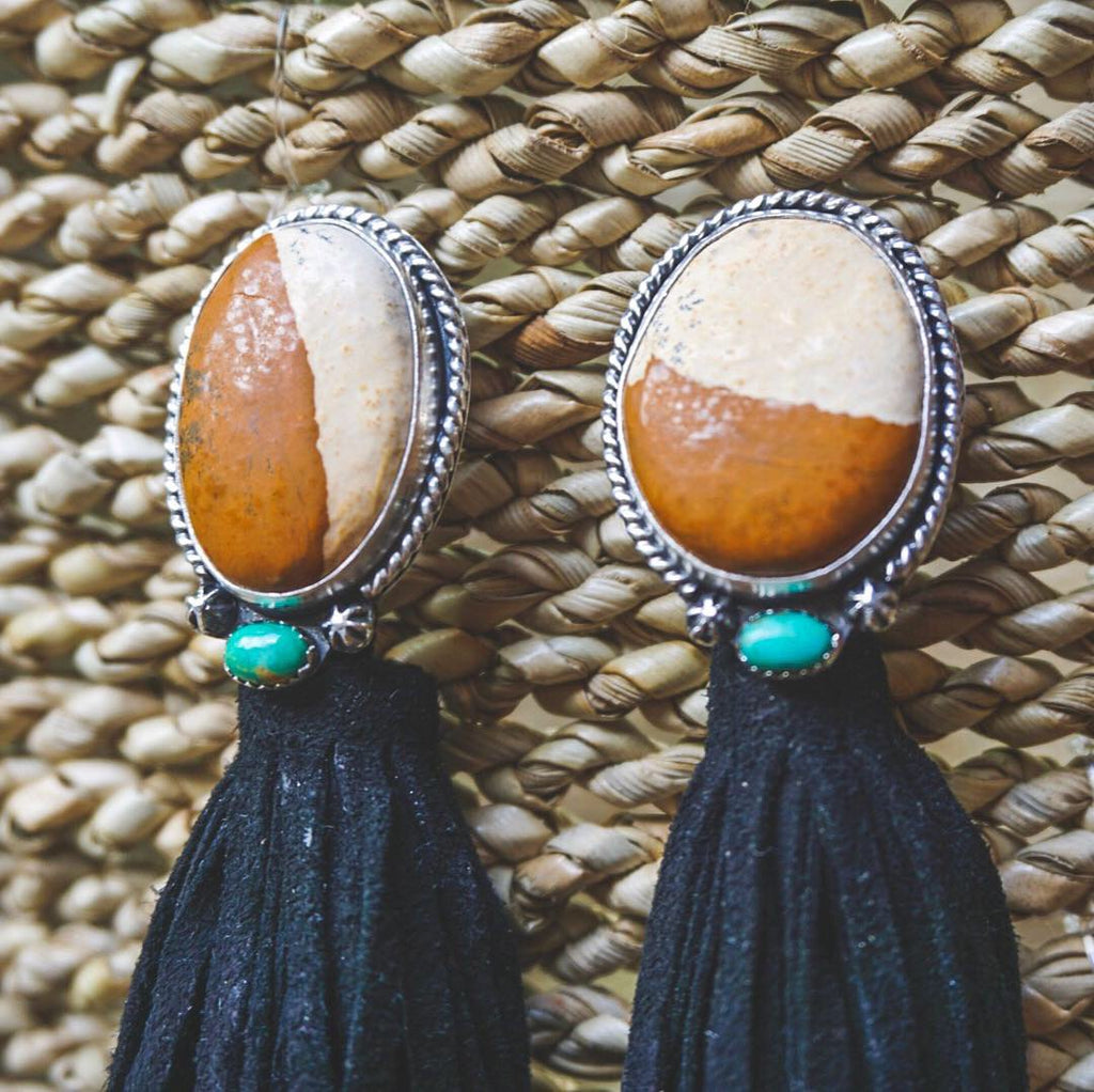 Picture Jasper Tassel Earrings