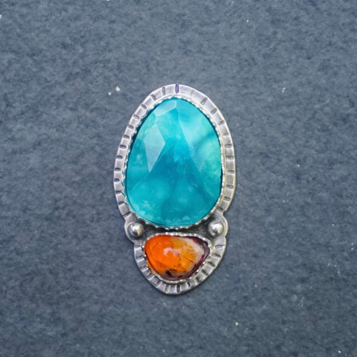 Faceted Turquoise + Fire Opal