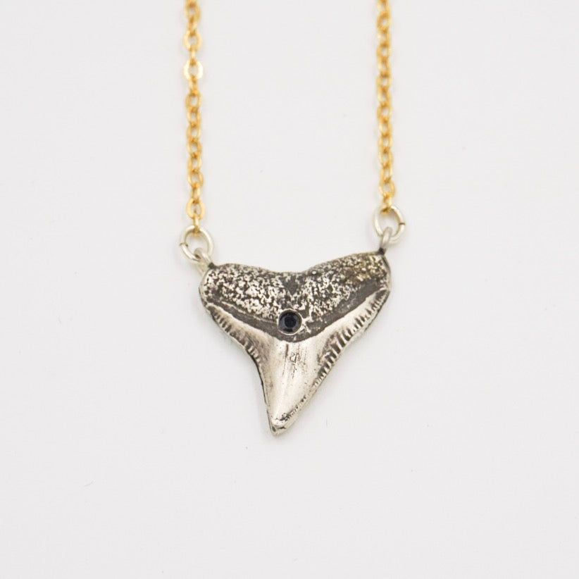 Mixed Metals Shark Tooth Necklace