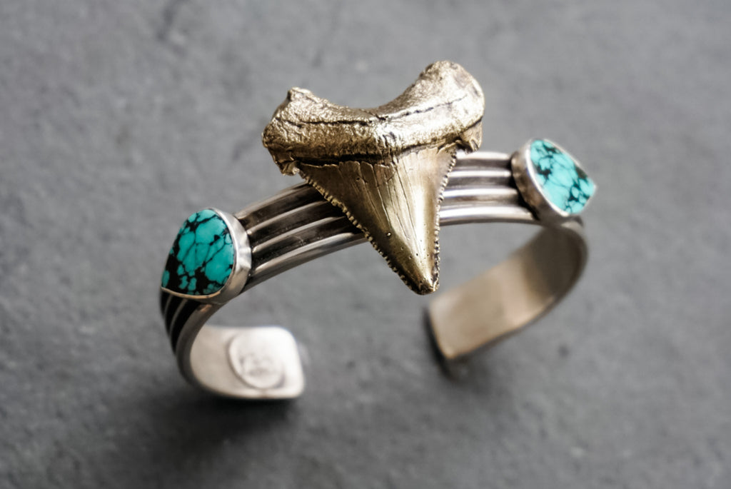Mixed Metals + Turquoise Shark Tooth Cuff