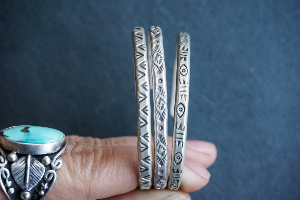 Hand Stamped Silver Stacking Cuffs