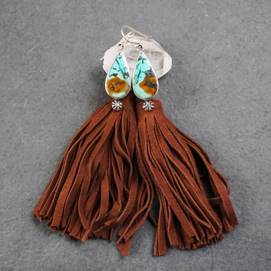 Hubei Turquoise Suede Tassel Earrings