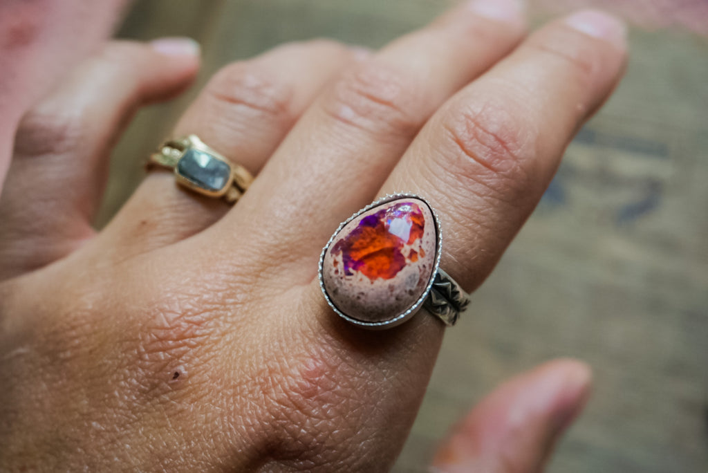 Fire Opal Stamped Band Rings