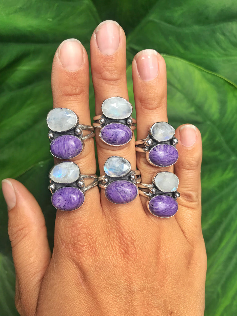 Moonstone & Charoite Ring (Made-To-Size)