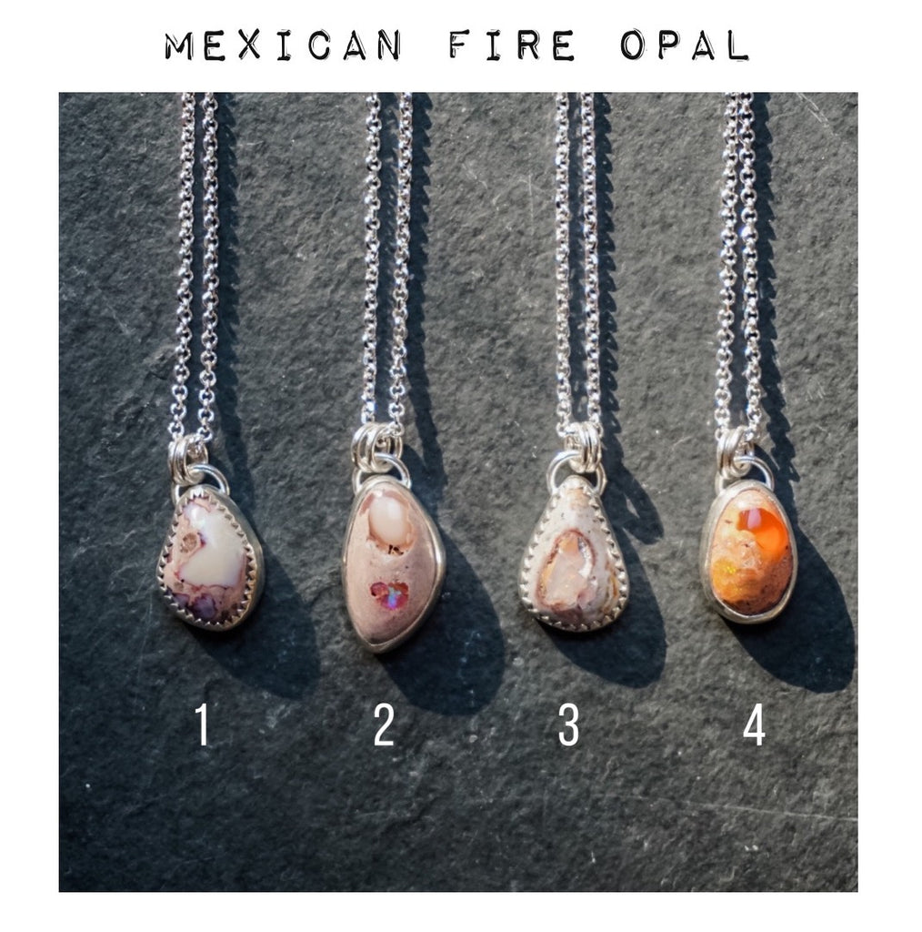 Mexican Fire Opal Gemstone Drop Necklaces