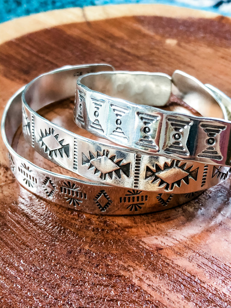 Hand Stamped Silver Cuff Bracelets