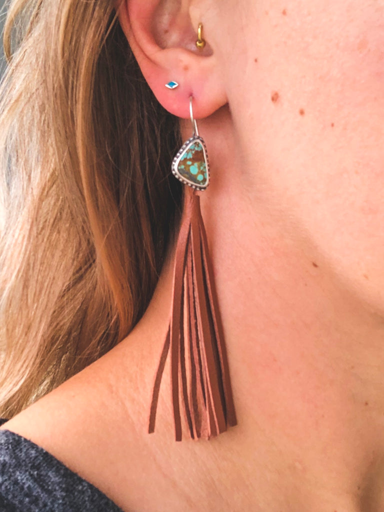 No. 8 Turquoise Leather Tassel Earrings