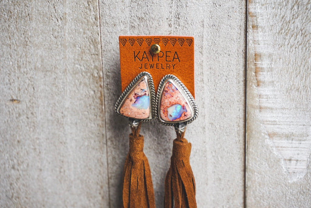 Fire Opal Suede Tassel Earrings